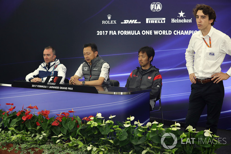 Paddy Lowe, Williams Shareholder and Technical Director, Yusuke Hasegawa, Head of Honda Motorsport and Ayao Komatsu, Haas F1 Engineer in the Press Conference