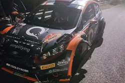 La Ford Fiesta R5 di Alexey Lukyanuk dopo l'incidente nella PS6