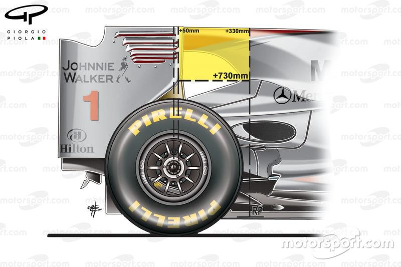 McLaren MP4/26, weergave van het verbod op de verbonden motorkap voor 2011.