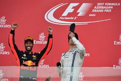 Daniel Ricciardo, Red Bull Racing and Lance Stroll, Williams shoey on the podium