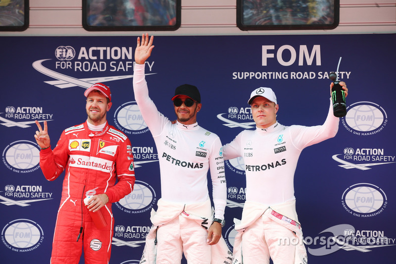Lewis Hamilton, Mercedes AMG, Sebastian Vettel, Ferrari y Valtteri Bottas, Mercedes AMG