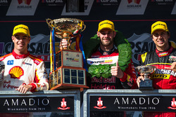 Podium: race winner Shane van Gisbergen, Triple Eight Race Engineering Holden, second place Scott McLaughlin, Team Penske Ford, third place Chaz Mostert, Rod Nash Racing Ford