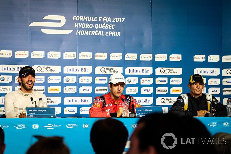 Conferencia de prensa: segundo lugar Jean-Eric Vergne, Techeetah, ganador de la carrera Lucas di Grassi, ABT Schaeffler Audi Sport, tercer lugar Stéphane Sarrazin, Techeetah