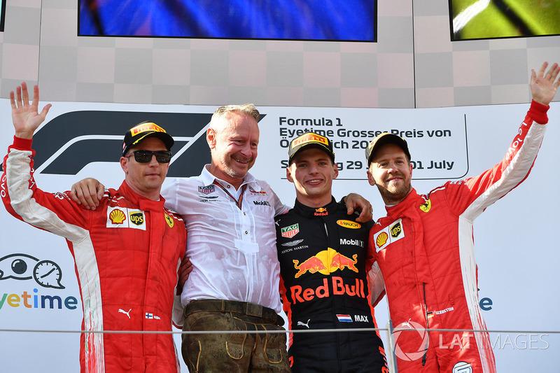 9. GP Austria - Podium: Max Verstappen, Kimi Raikkonen, Sebastian Vettel