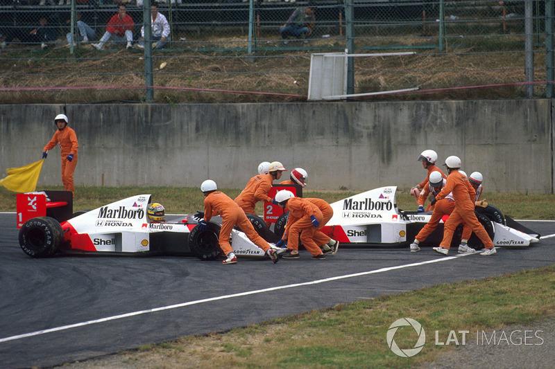 Accrochage entre Ayrton Senna, McLaren MP4/5 Honda et Alain Prost, McLaren MP4/5 Honda