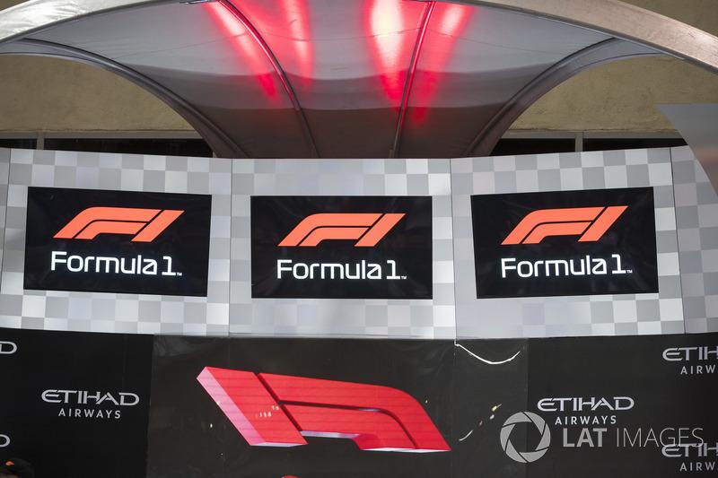 The new F1 logo displayed on the podium