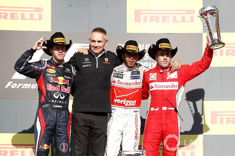 2012 : 1. Lewis Hamilton, 2. Sebastian Vettel, 3. Fernando Alonso