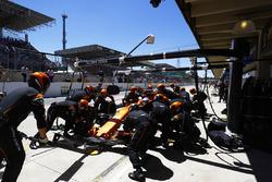 Fernando Alonso, McLaren MCL32, pit stop action