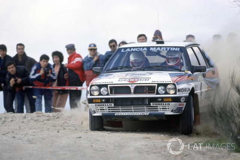 Miki Biasion, sur une Lancia Delta lors du Rallye du Portugal 1988