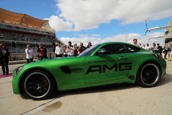 Lewis Hamilton, Mercedes AMG F1 with Usain Bolt, in a Mercedes AMG GTS