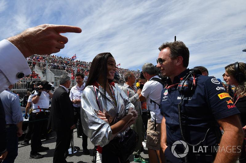 Winne Harlow, y Christian Horner, Red Bull Racing