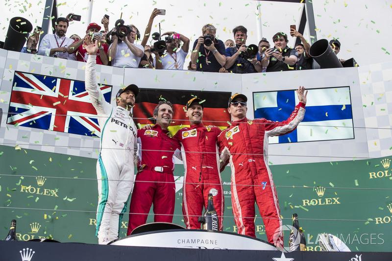 2018: 1. Sebastian Vettel, 2. Lewis Hamilton, 3. Kimi Raikkonen