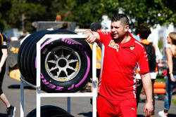 Ferrari engineer with the Pirelli Hypersoft tyres in the paddock