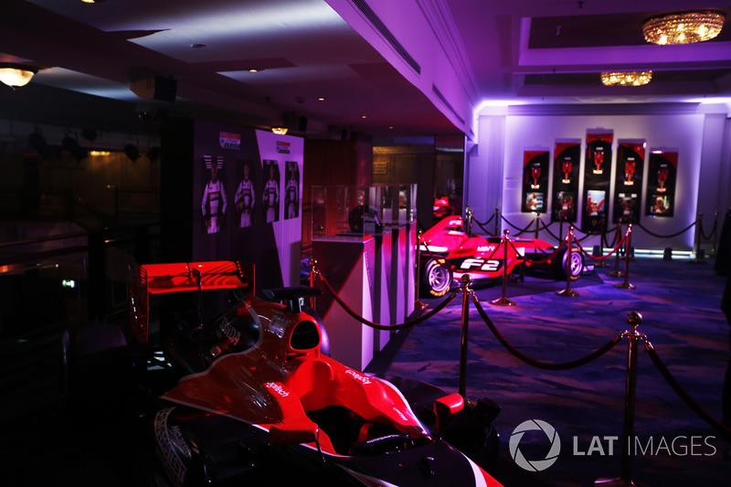 A McLaren Honda and Formula 2 car on display