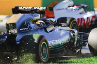 Lewis Hamilton, Mercedes AMG F1 W09, runs off onto the grass
