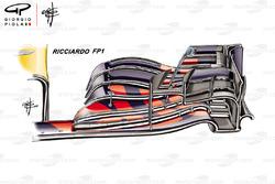 Red Bull Racing RB14 front wing Daniel Ricciardo FP1