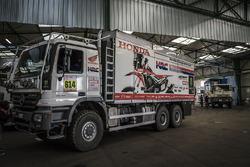 Monster Energy Honda Team support vehicles