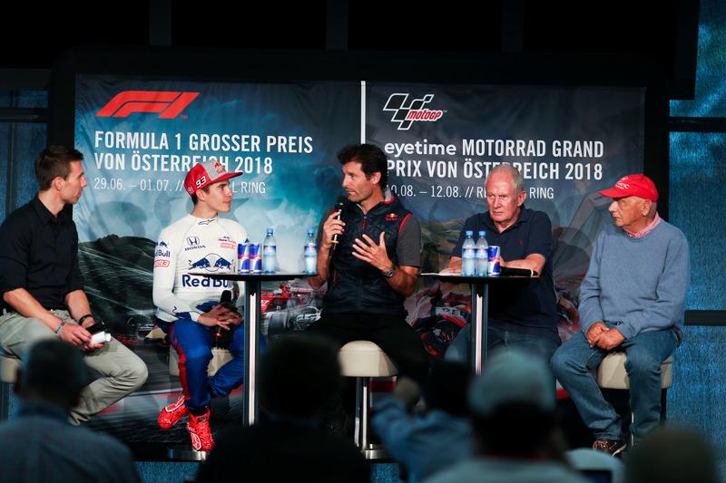 Marc Márquez, prueba un monoplaza Toro Rosso F1, Mark Webber, y Niki Lauda