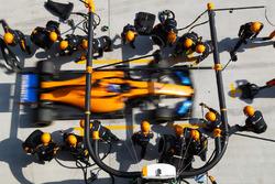 Fernando Alonso, McLaren MCL33 Renault, makes a stop
