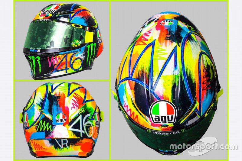 Valentino Rossi, Yamaha Factory Racing, casco pretemporada 2019