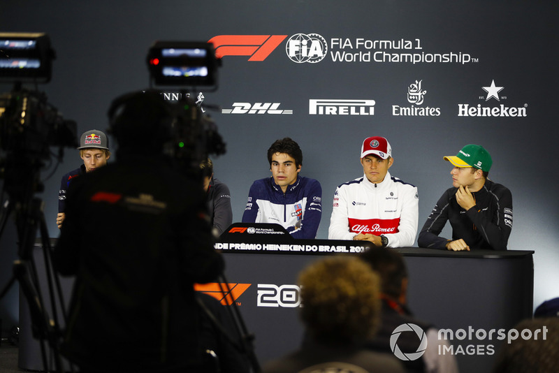 Brendon Hartley, Toro Rosso, Lance Stroll, Williams Racing, Marcus Ericsson, Sauber, and Stoffel Vandoorne, McLaren, are filmed in the Thursday drivers' press conference