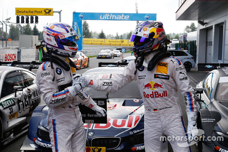 Tom Blomqvist, BMW Team RBM, BMW M4 DTM and Marco Wittmann, BMW Team RMG, BMW M4 DTM in parc ferme