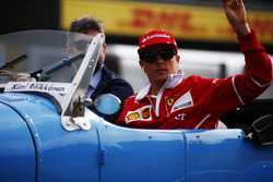 Kimi Raikkonen, Ferrari, at the drivers parade