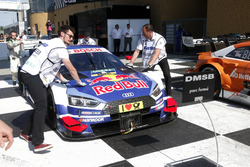 The car Mattias Ekström, Audi Sport Team Abt Sportsline, Audi A5 DTM arrived in parc ferme
