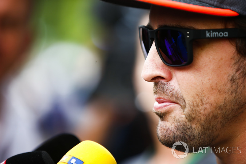 Fernando Alonso, McLaren, talks to the press