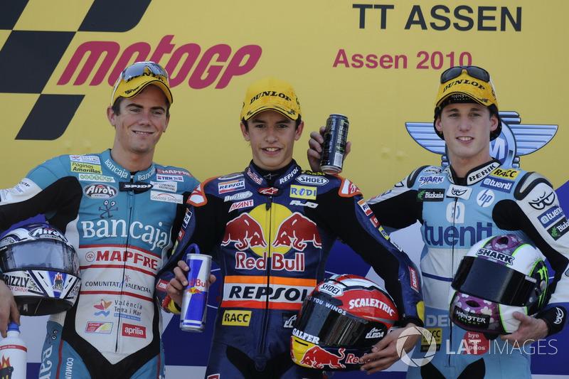 Podio: 1º Marc Márquez, 2º Nico Terol, 3º Pol Espargaró