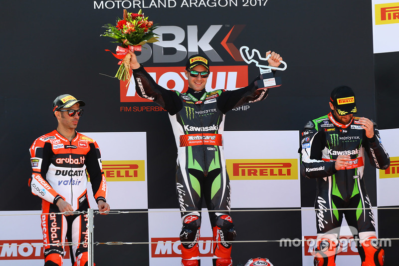 Podium: winner Jonathan Rea, Kawasaki Racing, second place Marco Melandri, Ducati Team, third place Tom Sykes, Kawasaki Racing