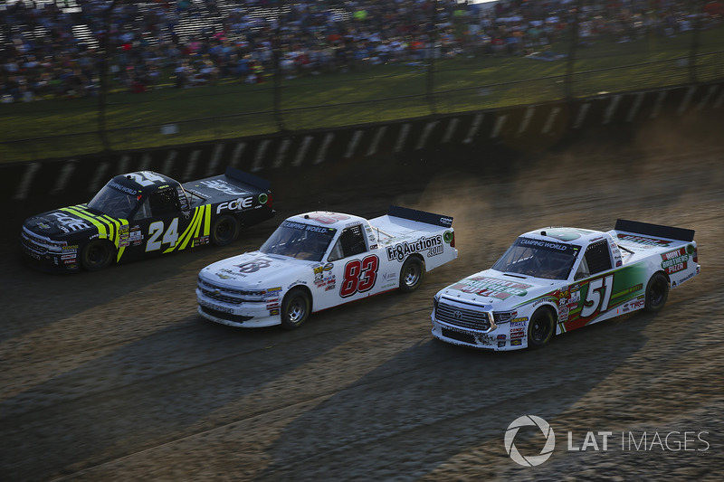 Justin Haley, GMS Racing Chevrolet, JJ Yeley, Chevrolet, Harrison Burton, Kyle Busch Motorsports Toyota