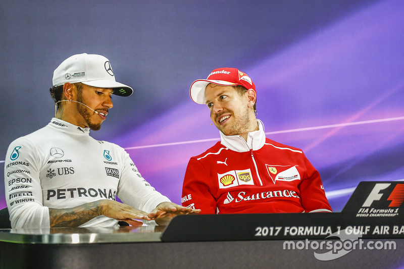 Post-race press conference: race winner Sebastian Vettel, Ferrari, second place Lewis Hamilton, Mercedes AMG F3