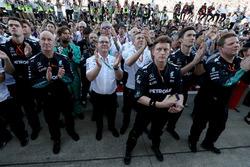 The Mercedes AMG F1 Team celebrate in parc ferme