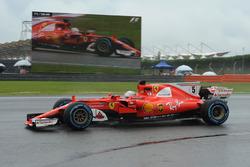 Sebastian Vettel, Ferrari SF70H and on screen