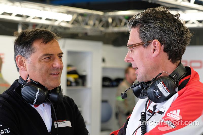 Michael Steiner, Miembro de la Junta Ejecutiva de Investigación y Desarollo de Porsche AG, y el Dr. Frank-Steffen Walliser, jefe de Porsche Motorsport