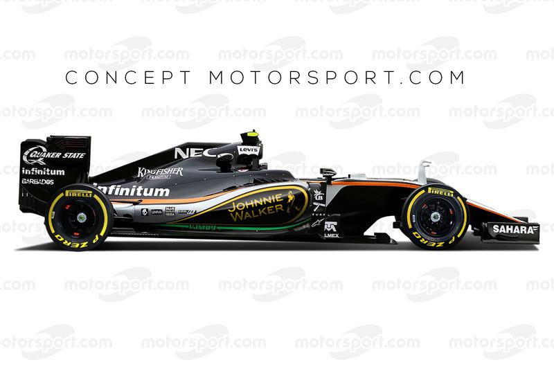 Concepto de Force India con el patrocinador Johnnie Walker