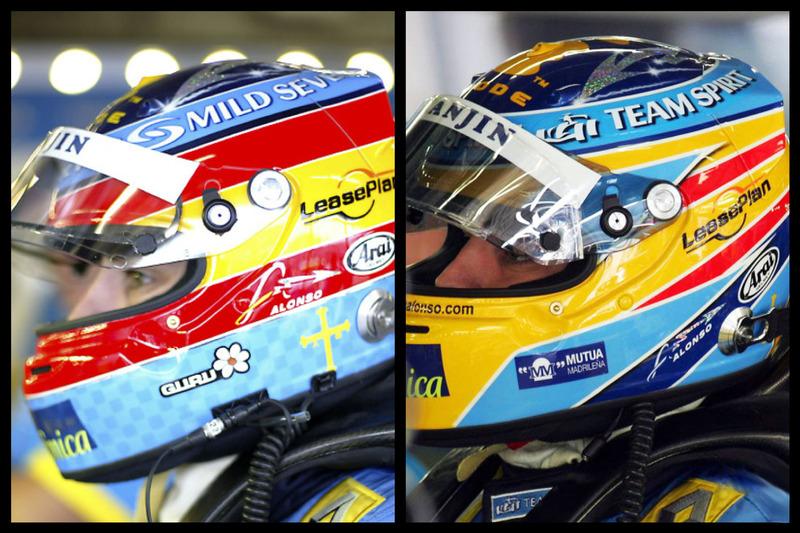 Le casque de Fernando Alonso en 2004 (à gauche) et en 2006 (à droite)