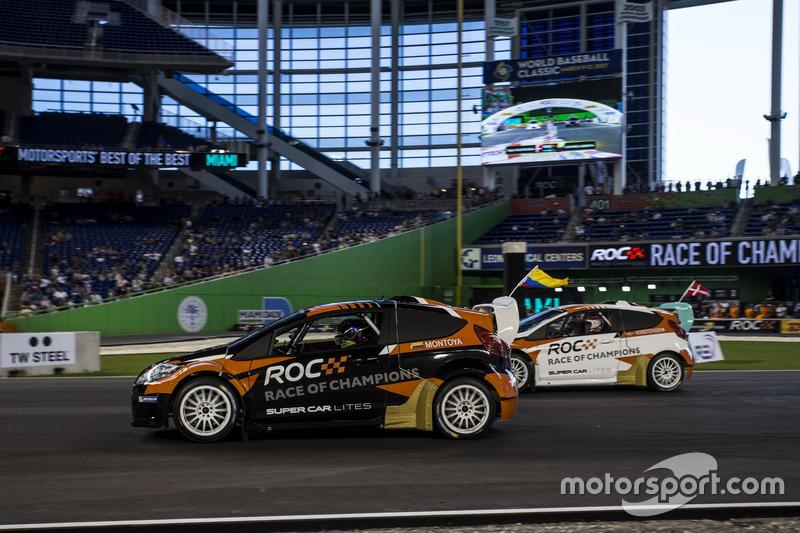 Juan Pablo Montoya, racet Tom Kristensen, in de RX Supercar Lite