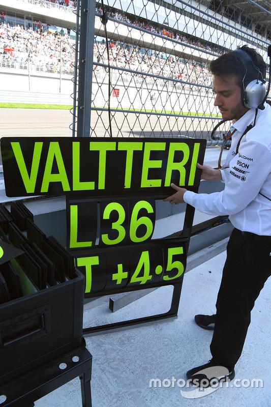 Mercedes AMG F1 engineer, the pitboard of Valtteri Bottas, Mercedes AMG F1