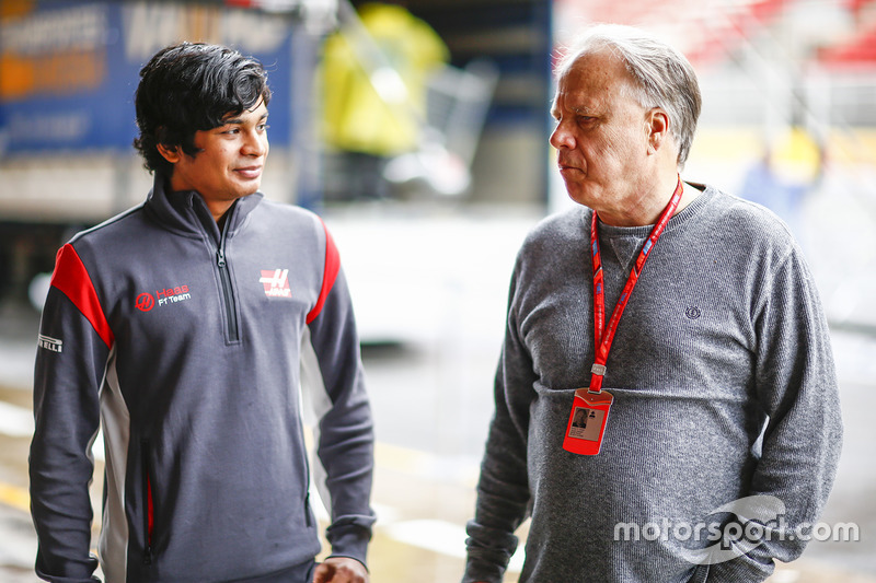 Arjun Maini, Development Driver, Haas F1 Team F1 Team, with Gene Haas F1 Team, Owner and Founder, Haas F1 Team F1