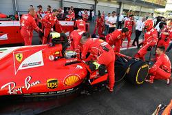 Sebastian Vettel, Ferrari SF70H during the red flag period
