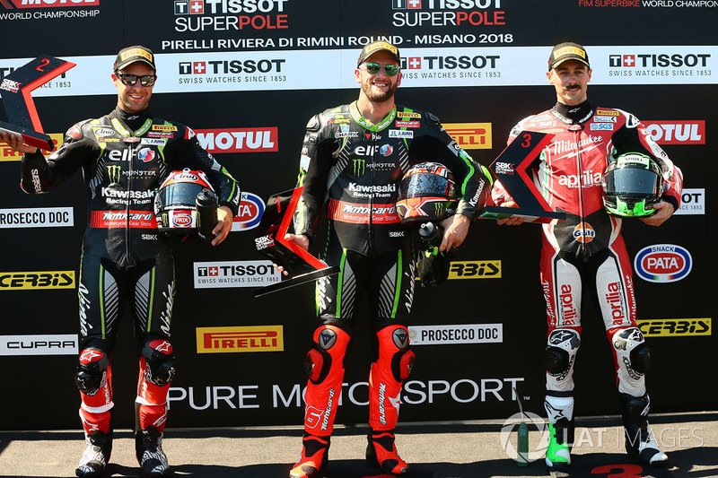 Poleman Tom Sykes, Kawasaki Racing, Jonathan Rea, Kawasaki Racing, Eugene Laverty, Milwaukee Aprilia