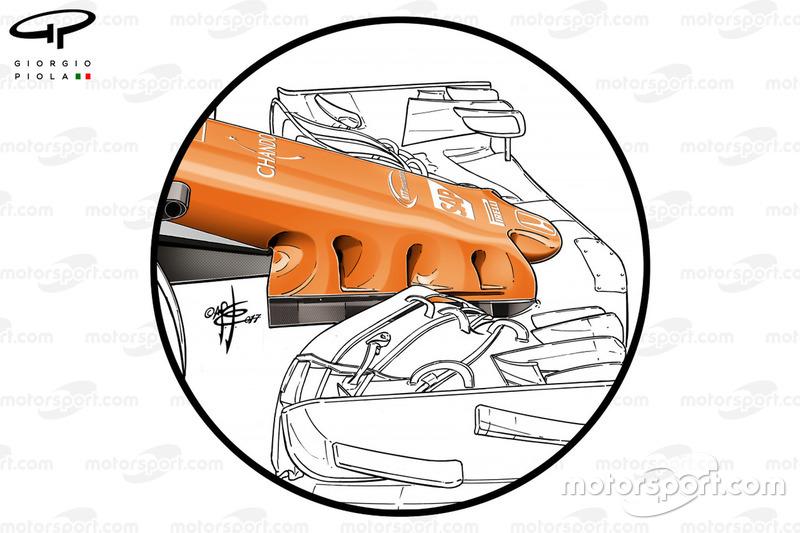 McLaren MCL32, piloni dell'ala con tre soffiaggi