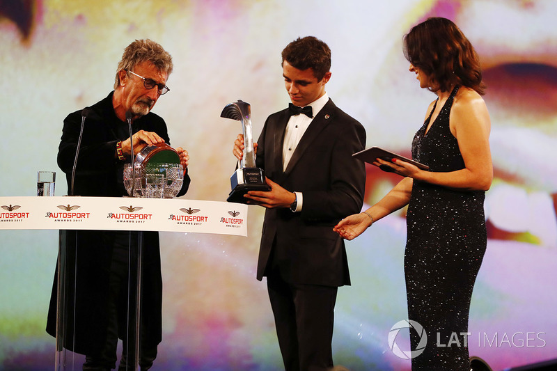 Eddie Jordan presents Lando Norris with the National Driver of the Year award