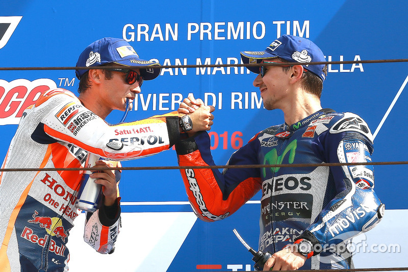 Sieger Dani Pedrosa, Repsol Honda Team; 3. Jorge Lorenzo, Yamaha Factory Racing