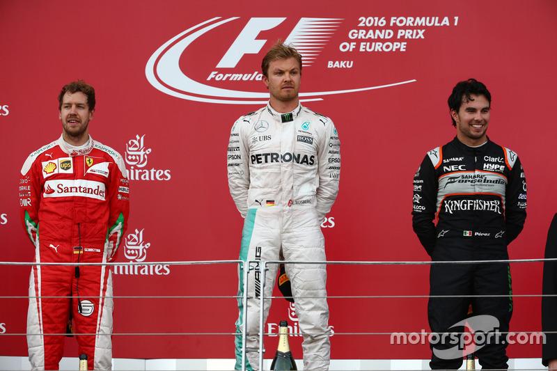 Podio: primer lugar Nico Rosberg, Mercedes AMG Petronas F1 W07,segundo lugar Sebastian Vettel, Scuderia Ferrari SF16-H y tercer lugar Sergio Pérez, Force India F1 VJM09