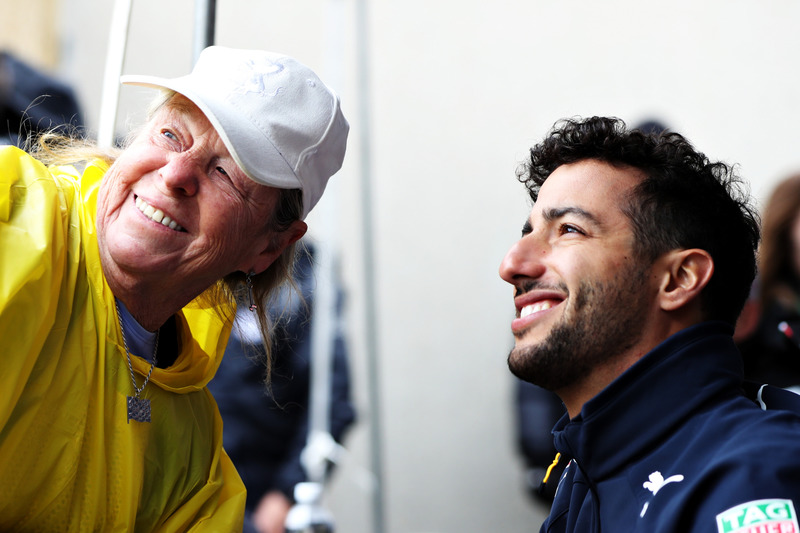 Daniel Ricciardo, Red Bull Racing poses for a photo with a fan