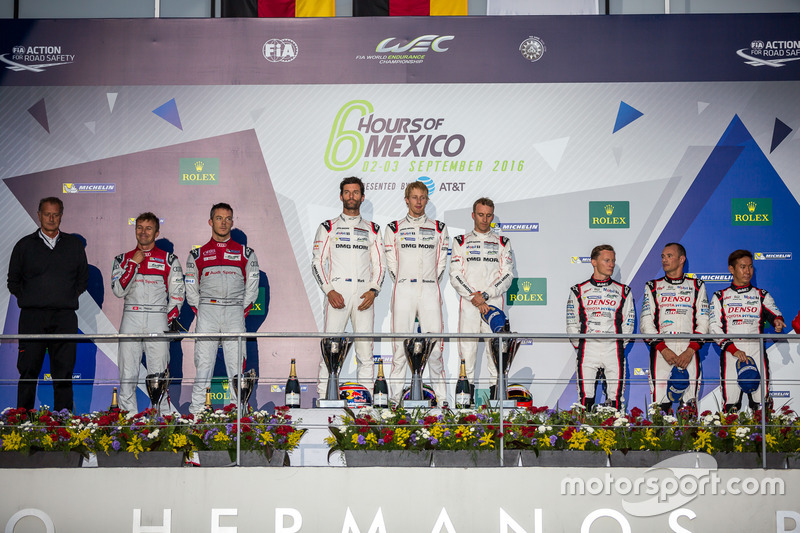 LMP1 podium: 1st place #1 Porsche Team Porsche 919 Hybrid: Timo Bernhard, Mark Webber, Brendon Hartley; 2nd place #7 Audi Sport Team Joest Audi R18: Marcel Fässler, Andre Lotterer; 3rd place #6 Toyota Racing Toyota TS050 Hybrid: Stéphane Sarrazin, Mike Conway, Kamui Kobayashi