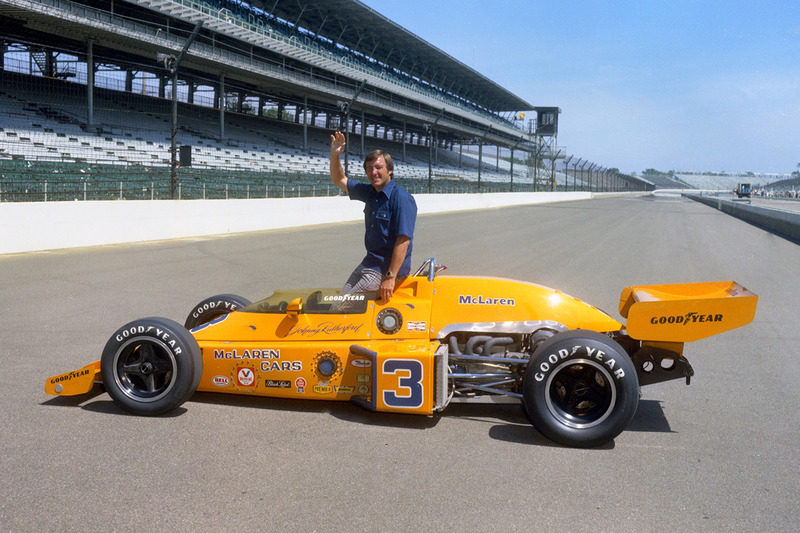 Well, the classic McLaren papaya orange had to be featured, didn't it? Here's Johnny Rutherford the day after winning the 1974 Indianapolis 500.
